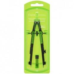 FABER-CASTELL Compas à réglage rapide, vert fluo / noir