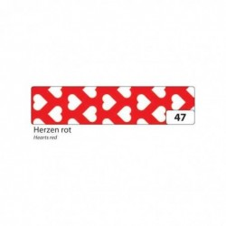 FOLIA Ruban Adhésif déco Washi-Tape 15 m m x 10 m Coeurs rouges