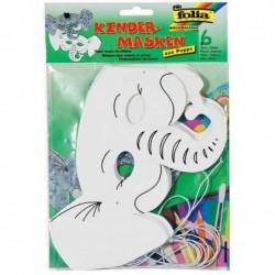 """FOLIA Lot de 6 Masques pour enfants """"éléphant"""" Carton, blanc"""