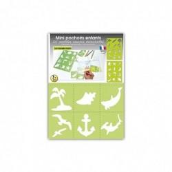DTM Lot de 24 Mini Pochoirs Monde Marin 7 x 7,5 cm