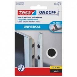 TESA Set de 8 Pastilles adhésives auto-agrippantes Diam 16 mm Noire