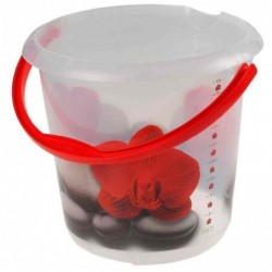 """KEEEPER seau deco ilvie """"red lotus"""", rond, 10 litres"""