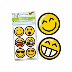 """FOLIA Etui 4 Feuilles de 6 Stickers Autocollants ronds """"Emojis"""""""