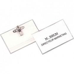 FELLOWES Badge avec clip et épingle PVC Transparent 56 x 92 mm Lot de 50