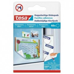 TESA Pack de 60 Pastilles Adhésives Double Face Transparent