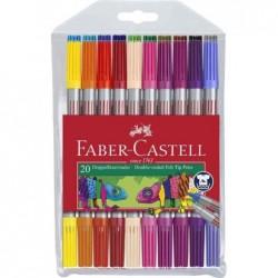 FABER-CASTELL Feutres double pointes pochette 20x