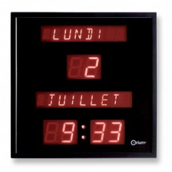 ORIUM Horloge électrique à date digitale affichage rouge 28 x 28 cm
