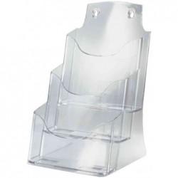 SIGEL Présentoir brochures de table, acrylique, A4, avec 3 compartiments