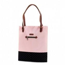 G.RIDE Sac shopping coton et polyester, Dim 36 x 37 cm ROSE ET NOIR