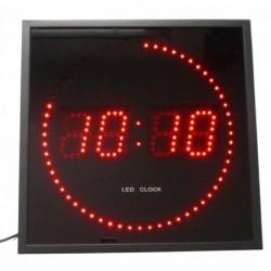 ORIUM Horloge carré LED rouges,secondes défilantes, Radio controlée