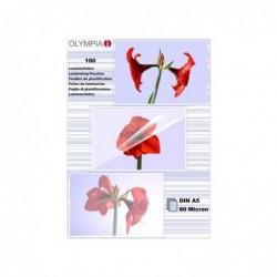 OLYMPIA Paquet de 100 Feuilles pour plastifieuse A5 80 micron