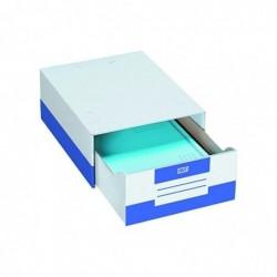 FAST Lot de 10 Caisse à documents module tiroir 28 x 36,5 x 14 cm Blanc/Bleu