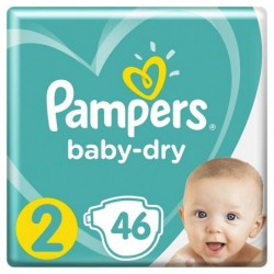 PAMPERS Couches baby-dry taille 2 Mini, 3-6 kg, pack promo