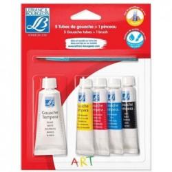 LEFRANC BOURGEOIS Blister de 5 Tubes gouache 4x10 ml rouge, jaune, bleu, noir,  20 ml Blanc + Pinceau