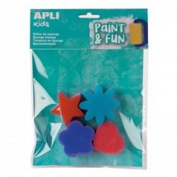 APLI Set de 4 tampons (étoile, coeur, fleur) en éponge
