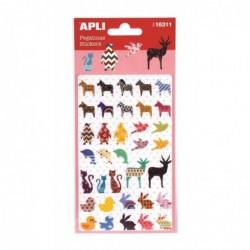 APLI Stickers animaux assortis - 1 feuille