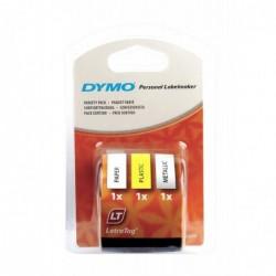 DYMO Lot de 3 Rubans Letratag 12mm x 4 m Métal noir/argent Plast noir/jaune Papier noir/blanc