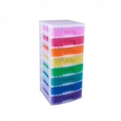 REALLY USE BOX Tour de rangement, 8 tiroirs de 9,5L Multicolore