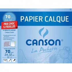 CANSON Pochette 12 Feuilles Papier calque Satin 240 x 320 mm 70g