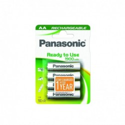 PANASONIC Blister de 4 Piles Rechargeable NiMH Mignon AA 1900 mAh Ready to use