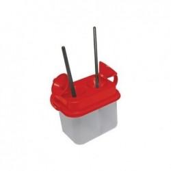 SAFETOOL Pot de nettoyage Pinceau Double Anti versement Rouge