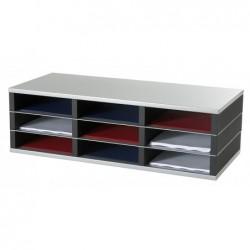 PAPERFLOW Trieur 9 cases A4 élément départ R3 Dim L75 x H23,2 x P32,8 cm noir/alu