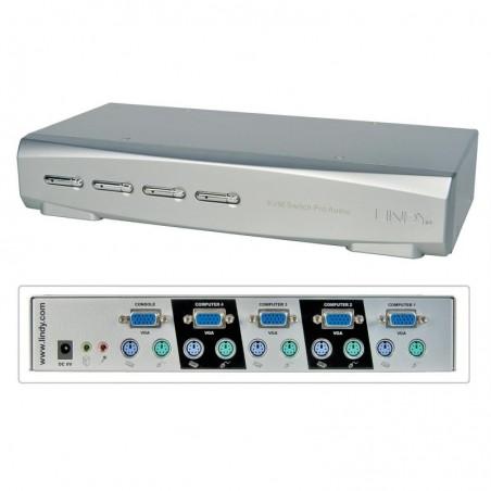 LINDY Commutateur KVM PRO 4 ports VGA et PS/2 (câbles fournis)