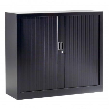 VINCO Armoire Monobloc H100xL100xP43 cm 2 Tablettes Noir (9005) Rideaux Noir