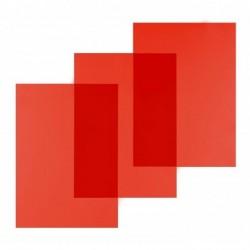 PAVO Paquet de 100 Couvertures en PVC 200 microns A4 Rouge Transparent