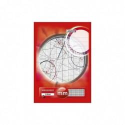LANDRÉ Bloc à papier millimétré DIN A4 25 feuilles 80g Ligne Rouge