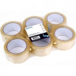 PAVO Lot de 6 Rubans adhésif d'emballage 50 mm x 66 m Transparent PP