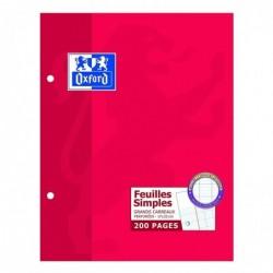 OXFORD Etui carton 200 pages feuillets mobiles 90g perforés 17x22cm Seyès blanc