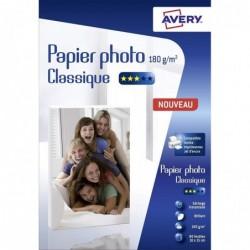 AVERY Boîte de 80 feuilles de papier photo brillant 10x15cm, jet d'encre, 180 g