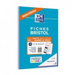 OXFORD Bloc de 30 Fiches Bristol Perforées 2.0 A5 Q5/5 Bordures violettes