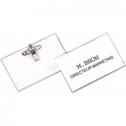 FELLOWES Boîte de 100 badges 40x60 mm PVC Avec Clip et Epingle Transparent