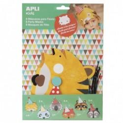 APLI Sachet de 6 masques d'anniversaire en carton