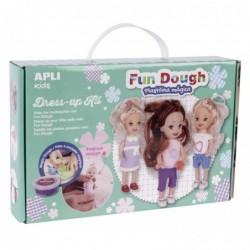 APLI Boite 3 petites poupées à habiller en pâte Fun Dough