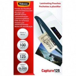 FELLOWES Pochette à plastifier Brillantes 54 x 86 mm 250 microns (2x125)  Pack de 100