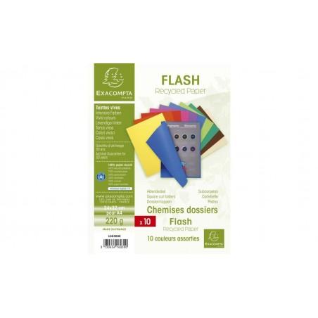 EXACOMPTA Paquet de 10 chemises 220g FLASH format A4 100 RECYCLE assortis