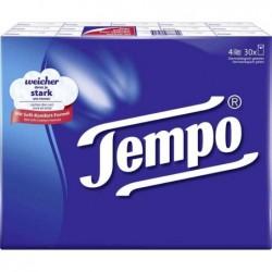 TEMPO Pack 30 Etuis de 10 Mouchoirs Classique 21x21 cm 4 couches Blanc