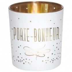 DRAEGER Photophore Porte-bonheur Blanc et or