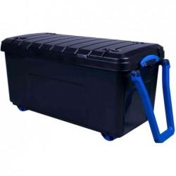 REALLY USE BOX Coffre de rangement à roulettes,160 litres Noir Bleu