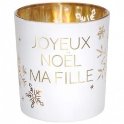 DRAEGER Photophore Joyeux Noël ma fille  Blanc et or