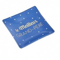 """DRAEGER Vide-poches carré 12cm en verre avec message """"Le Meilleur Grand-Père"""" Bleu nuit"""