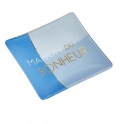"""DRAEGER Vide-poches carré 12cm en verre avec message """"Maison Du Bonheur"""" Bleu nuit"""