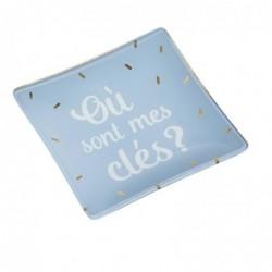 """DRAEGER Vide-poches carré 12cm en verre avec message """"Où Sont Mes Clés ?"""" Bleu clair"""