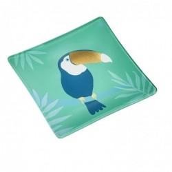 DRAEGER Vide-poches carré 12cm en verre avec motif Toucan Vert