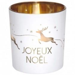 DRAEGER Photophore Joyeux Noël Blanc et or