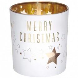 DRAEGER Photophore Merry Christmas Blanc et or