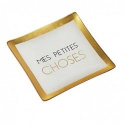"""DRAEGER Vide-poches carré 12cm en verre avec message """"Mes Petites Choses"""" Blanc et or"""